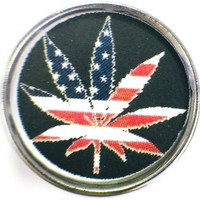 Marijuana Pot Leaf With American Flag 18MM - 20MM Fashion Snap Jewelry Charm