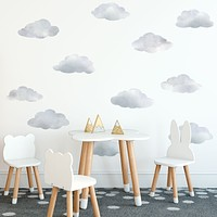 Medium Size Watercolor Cloud Wall Decals, Cloud Wall Stickers, Nursery Wall Decor, Eco Friendly Wall Decals, Col 1