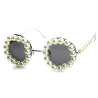Womens Designer Large Pearls Round Circle Sunglasses 8985
