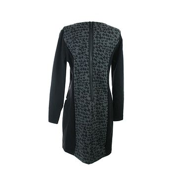 Kensie New Grey Black Long-Sleeve Houndstooth Sheath Dress S  $99
