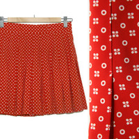 90s Pleated Skirt~Size Small/Medium~Waist 27 to 29~Red Wite Floral Flower Circle Geometric Print Elastic High Waisted Skirt~By Tail