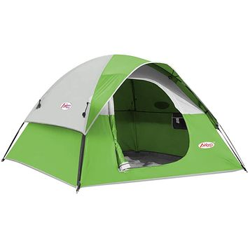 MKeep 3-4 Person Tent - Dome Tents for Camping, Waterproof Windproof Backpacking Tent, Easy Set up Small Lightweight Tents, for All Seasons Hiking Beach Outdoor with 3 Mesh Windows Green