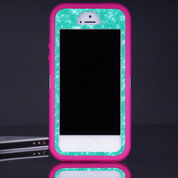 Otterbox iPhone 5 5s Defender Case - Pink/Wintermint Glitter iPhone 5 5s Case - Sparkly Glitter Bling iPhone 5 5s Cover