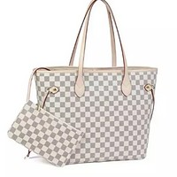 Luxury Checkered Tote Bag for Women Leather Shoulder Strap With Inner Pouch