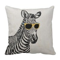 Cool cute funny zebra sketch with trendy glasses
