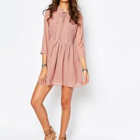 Glamorous Tall Lace Up Front Skater Dress With Ruffles at asos.com