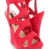 Red Strappy Cut Out Platform Wedges Faux Suede