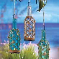 Glass Bottle Lantern Set Lamp LED Flameless Light Tropical Seashell Net Beach