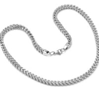Mens Solid 24 inch Stainless Steel Silver Color Link Chain Necklace