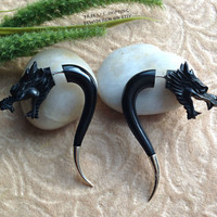 """Fake Gauge Earrings, """"Dragon Spikes"""" Hand Carved, Horn, Silver Ends, Naturally Organic, Tribal"""