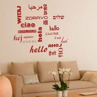 Hello In 20 Languages Decal Sticker Wall Art Hola Ciao Hei Home Decor Modern Words