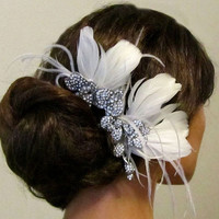 Bridal headpiece, feathers,Rhinestone comb, Bridal Hair Comb, Bridal comb, Wedding hair accessory, bridal hair accessory
