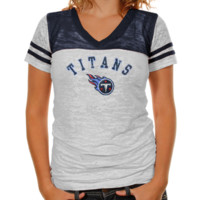 Touch by Alyssa Milano Tennessee Titans Ladies The Coop Football Premium Burnout V-Neck T-Shirt - White-Navy Blue