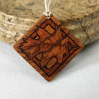 Oak Leaf Pendant Necklace Natural Jewelry Olive Wood