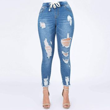 Plus Sized Distressed Denim Joggers with Drawstrings
