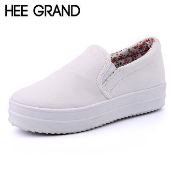 2016 Platform Canvas Shoes Woman Spring Slip On Flats Casual Ladies Loafers Solid Creepers Floral Inside Women Shoes XWD2606