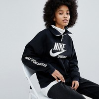 Nike Archive Half Zip Pullover In Black at asos.com