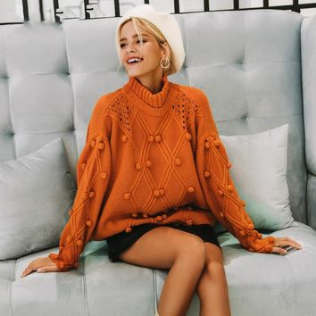 8DESS Turtleneck sweater women pullover Hollow out knitted sweaters fashion long sleeve casual jumpers