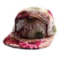 ZLYC Women New Stylish Floral Print Flatbill Adjust Baseball Casual Hat Cap Red