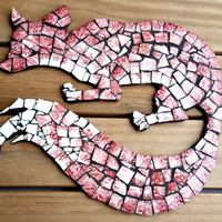 Rustic Trendy Mosaic Art Fox Wall Hanging. Shabby Cottage Chic Mixed Media China Wood Pallet Artwork.