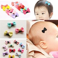 10Pcs/Pack newborn Baby Girls Scarce hair Lovely BB Clips Bowknot Hairpin Kid Hair Accessories Children mini Hair clip