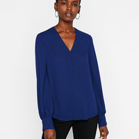 Button Front Blouson Sleeve Top