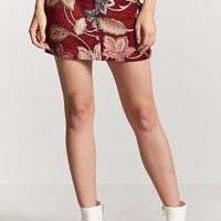 Jacquard Floral Mini Skirt