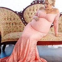 Pink Lace Pleated Off Shoulder maternity Maxi Dress