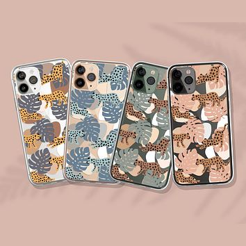 Palm Leaves and Leopards Clear Phone Case