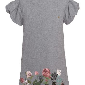 Girl's Armani Junior Graphic Floral Print Sweatshirt Dress,
