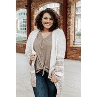 Moonlight Serenade Multicolor Boucle Soft Knit Cardigan, Cream Mix | Plus Size