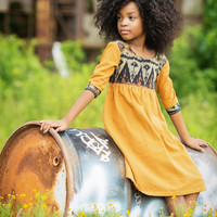 Little Girls Dress In Javanese Ikat Bohemian Style Dress In Honey Mustard 2- 6 - Scarlett
