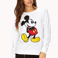 FOREVER 21 Mickey Mouse Raglan Sweatshirt Ivory/Black