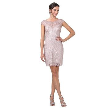 Sequin-Appliqued Short Formal Dress with Cap Sleeves Mauve