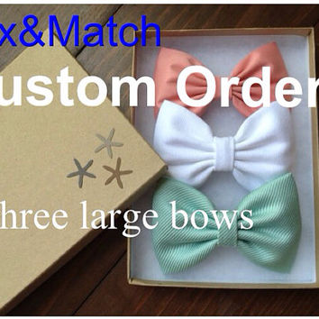 Large custom mix and match hair bow lot of 3.  You can pick almost any color from our shop for your own unique set.
