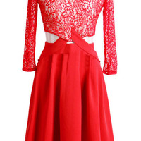 Red Cut Out Lace Skater Dress