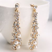 Rhinestone Faux Pearl Earrings