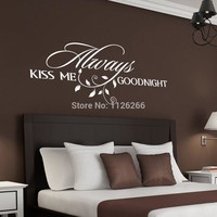 Always Kiss Me Goodnight  Loving Art Wall Decal  Removable Decorative Vinyl Sticker Home Decor
