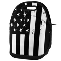 DCCK8UT Black and White American Flag Lunch Tote Bag
