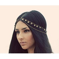 Fashion metal discs double tassel hair chain