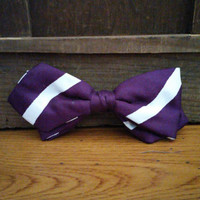 Vintage Purple White Stripe Ormond Clip On Bow Tie