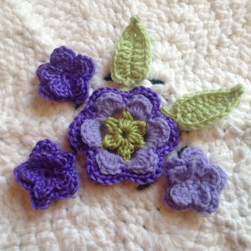Hand Crochet Flower Appliques Embellishments Set of 6-Key Lime Pie, Lavender and Grape Purple