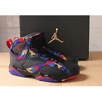 Air Jordan 7 Retro Aj7 Black Colorful Basketball Shoe Us7 12
