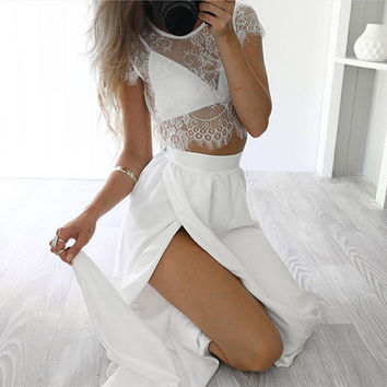 ≫∙∙White Two Pieces Pink White Maxi Dress Romantic Sexy Summer Lace Trendy Maxi Skirt ∙∙≪