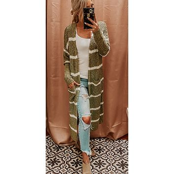 BABY IT'S COLD OUTSIDE STRIPED CARDI IN SAGE GREEN
