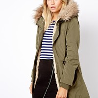 Oasis | Oasis Fur Lined Parka at ASOS