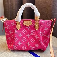 LV Fashion New Monogram Print Canvas Shopping Leisure Shoulder Bag Crossbody Bag Handbag Rose Red