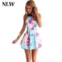 NLW Summer Dress 2015 Casual Women Dress Print Floral Sexy Backless Sleeveless Dresses Party Spaghetti Strap Plus Size Dress