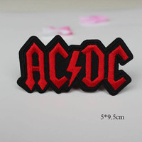 Fashion motif ACDC badge patch 1PC Red letters embroidered iron on patches for clothes garment Appliques