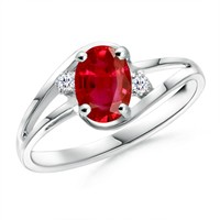 Solitaire Oval Ruby and Diamond Split Shank Ring